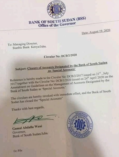 Letter from Central Bank Governor to Stanbic Bank (Document obtained by Nyamilepedia)