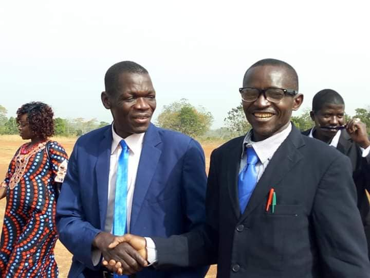 South Sudan governor of Western Equatoria State Hon. Lt. Gen. Alfred Futuyo greets a young politician(Photo credit: supplied)