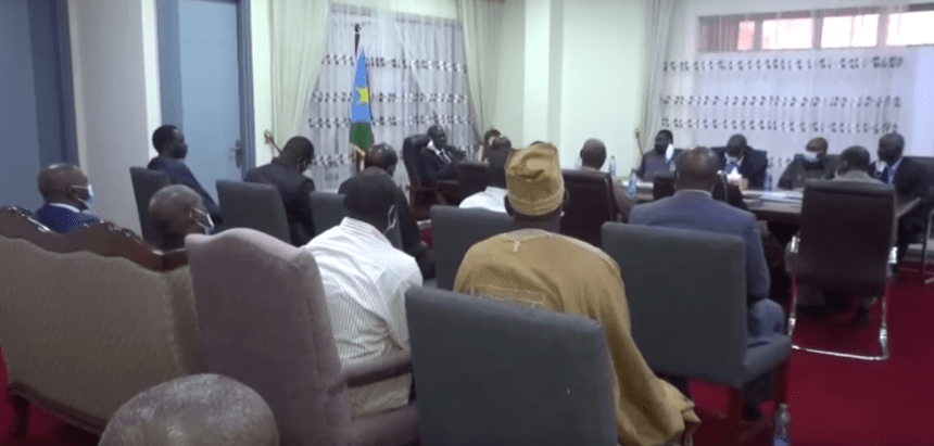 Sudanese opposition factions participating in the peace talks with the Sudanese governent in Juba met with the First Vice President, Dr. Riek Machar Teny, August 5, 2020(Photo credit: Nyamilepedia)