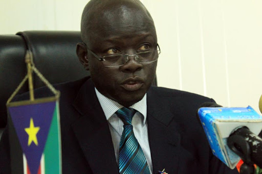 South Sudan minister of transport Madut Biar speaking to journalists in Juba (Photo credit: Unknown)