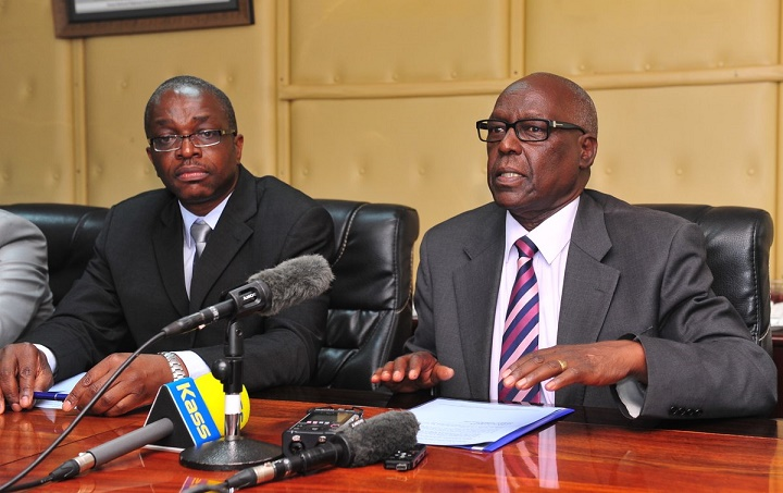 KeNHA Chairman Eng. Erastus Mwongera & Director Development Eng. David Muchilwa address the press(Photo credit: supplied)