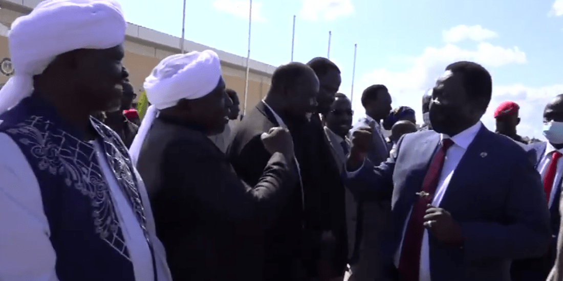 South Sudan Vice President of Service Cluster, Hussein Abdelbaggi Akol Ayii, received by officials at the airport, South Sudan(Photo credit: Nyamilepedia)
