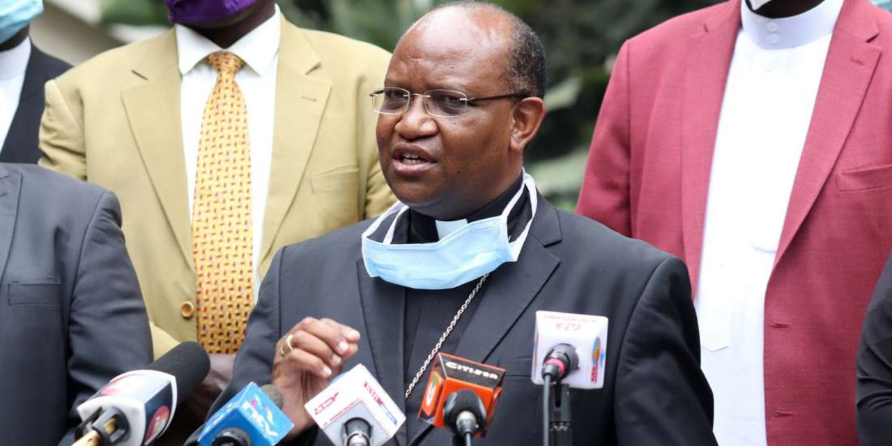 Chairman of the Interfaith Council on Covid-19 Archbishop Anthony Muheria who led a delegation that visited President Kenyatta at State House, Nairobi.