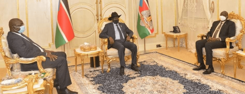 President Salva Kiir meets Emmanuel Adil Anthony, the governor of Central Equatoria State today, September 9, 2020(Photo credit: OoP/Nyamilepedia)