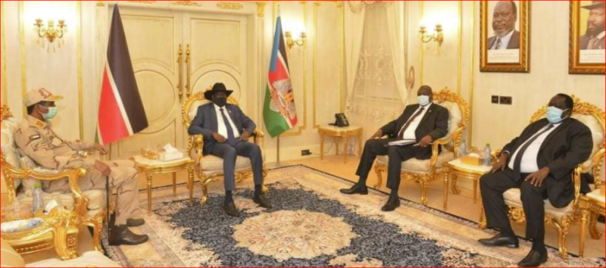 President Salva Kiir and the First Vice President, Dr. Riek Machar Teny, holding a meeting with the Deputy Chairperson of the Sudan's Sovereign Council, Gen. Mohammed Hamdan Dagalo, on September 3, 2020 in the capital Juba(Photo credit: Nyamilepedia)
