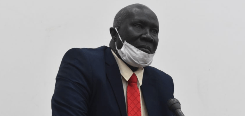 the Minister of Trade and Industry, Hon. Kuol Athian, speaking to lawmakers in Juba on September 10, 2020(Photo credit: Emmanuel Akille)