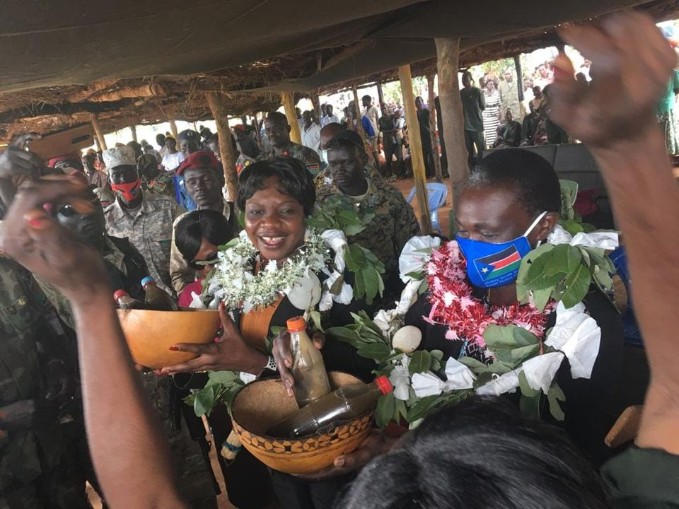 Hon. Angelina Teny, Minister of Defense and Veteran Affairs received by Governor Sarah Cleto Rial in Wau, Western Bhar el Ghazal(Photo credit: Nyamilepedia)