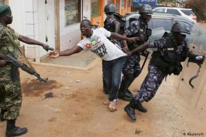 Ugandan police arresting a civilian in a past incident(Photo credit: supplied)