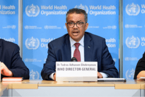 World Health Organization leaders at a press briefing on COVID-19, held on March 6 at WHO headquarters in Geneva. Here's a look at its history, its mission and its role in the current crisis.(Phot credit: Fabrice Coffrini/AFP via Getty Images)