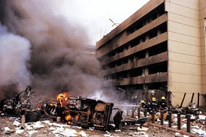 On August 7, 1998, terrorists' bombs detonated within minutes of each other outside of U.S. embassy buildings in Nairobi, Kenya, and Dar es Salaam, Tanzania, killing 224 people(Photo credit: courtesy image/UPI)