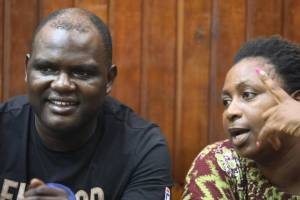 Malindi MP Aisha Jumwa Katana (right) and Geoffrey Okuto Otieno at a Mombasa court on Wednesday, October 16, 2019. The DPP has okayed murder and assault charges against the MP.(Photo credit: courtesy image/Standard)
