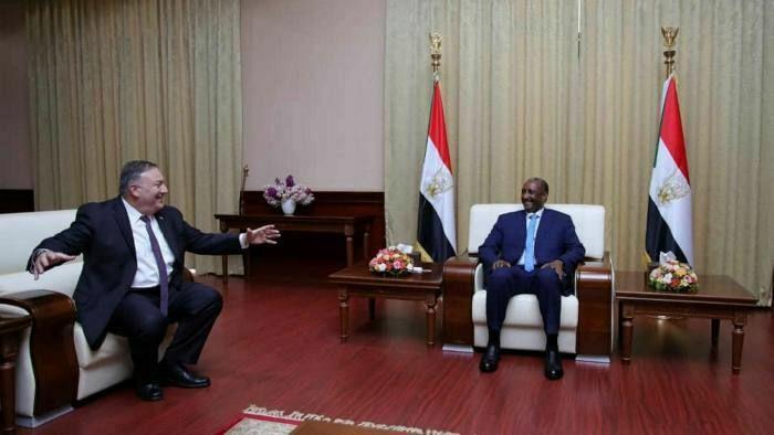 Head of Sudan's sovereignty council Abdel Fattah al-Burhan meeting the U.S. Secretary of State Michael Pompeo in Khartoum, Sudan(Photo credit: courtesy image/Nyamilepedia)