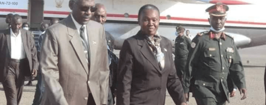 South Sudan Minister of Defense and Veteran Affairs being received by her counterpart in Khartoum, Sudan on October 26, 2020(Photo credit: courtesy image/Nyamilepedia)