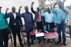 Maj. Gen. Dr. Achol Marial Deng declaring his resignation from the SPLM-IG and joining the SPLM-IO in Juba, South Sudan(Photo credit: Courtesy image/Nyamilepedia)