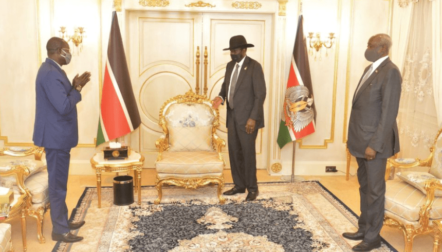 President Salva Kiir Mayardit meeting with the Governor of Northern Bahr el Ghazal State, Hon.Tong Aken Ngor on Wednesday Oct 28, 2020(Photo credit: Courtesy image/Nyamilepedia)