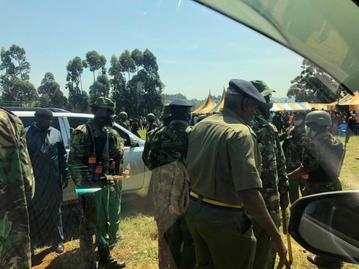 Kenyan police dispersing crowds before William Ruto arrival in Nyamira(Photo credit: Dailynews/Nyamilepedia)