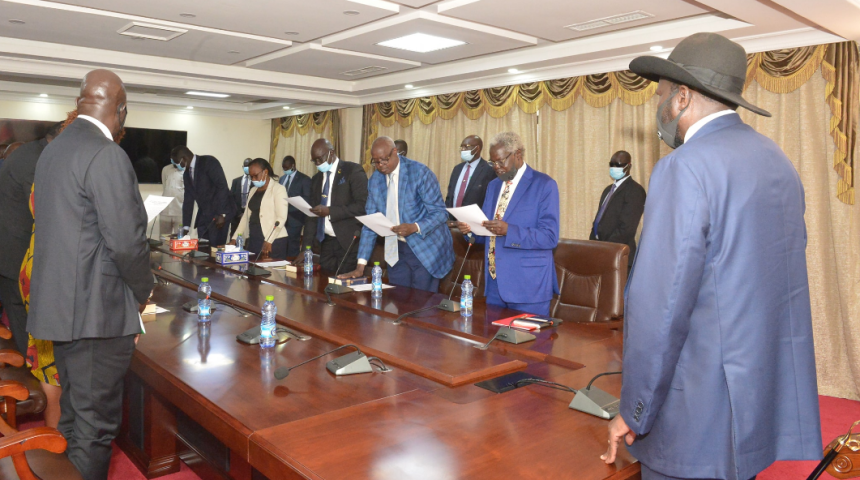 President Kiir Presiding over the swearing in ceremony of the newly Reconstituted and Appointed Board of Directors of National Petroleum and Gas Corporation (Photo credit: courtesy image/Nyamilepedia)