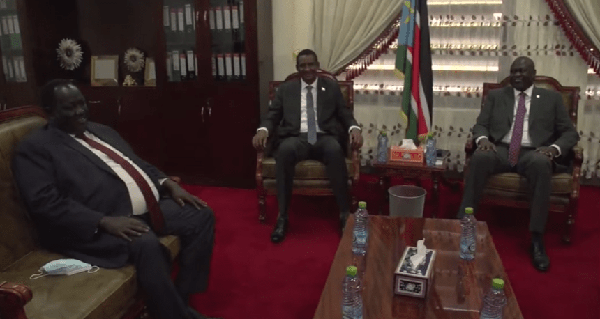 The First Vice President of the Republic, Dr. Riek Machar Teny, and the Deputy Head of Sudan's Transitional Military Council, General Mohammed Hamdan Dagalo meeting in Juba, October 8, 2020(Photo credit: courtesy image/Nyamilepedia)