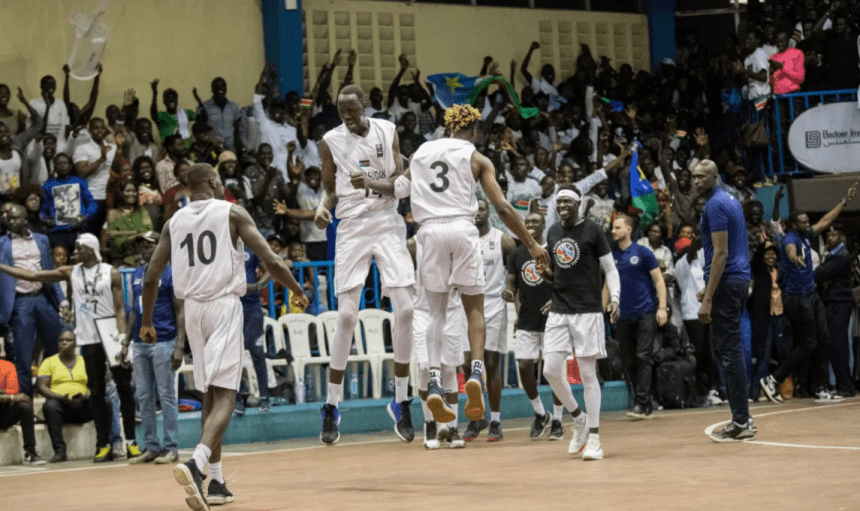 South Sudan men basketball team celebrate a win during the pre-qualifiers game earlier this year(Photo credit: supplied)