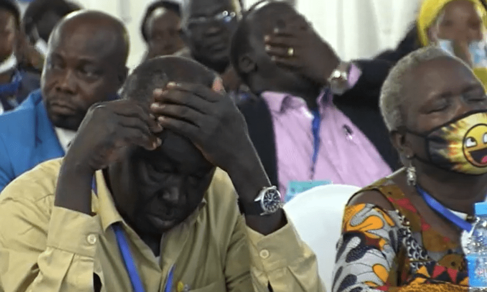 Members of the South Sudan National Dialogue sleeping in and some yawning during the speech of Hon. Angela Beda on Nov 3, 2020(Photo credit: Courtesy image/Nyamilepedia)