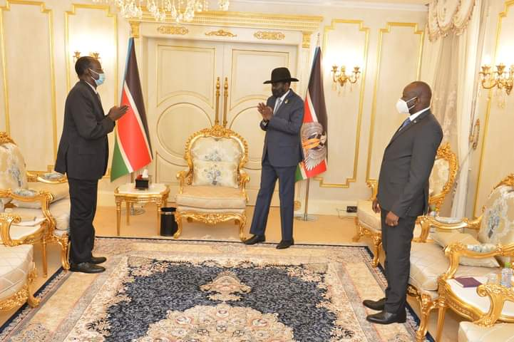 President Kiir welcoming the Chief Administrator of the Abyei Administrative Area  to his office on December 7, 2020(Photo credit: courtesy image/Nyamilepedia)