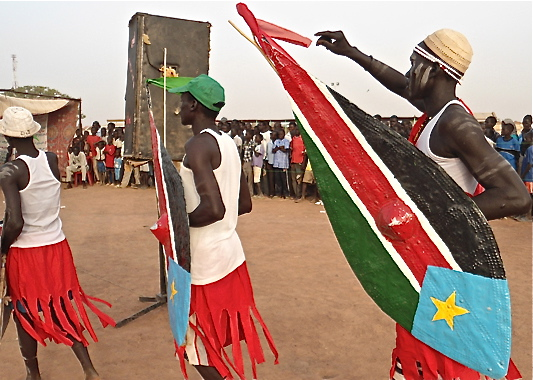 Nuer men demonstrating a cultural dance during a community event in East Africa(Photo credit: courtesy image/Nyamilepedia)