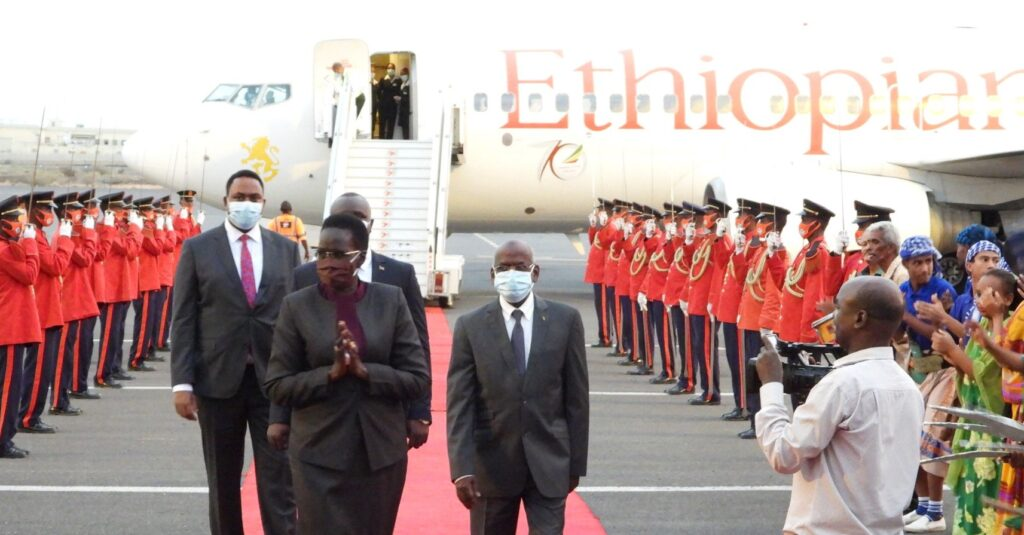 South Sudan Vice President for Gender and Youth Cluster being received in Djibouti, the Capital of Djibouti(Photo credit: courtesy image)