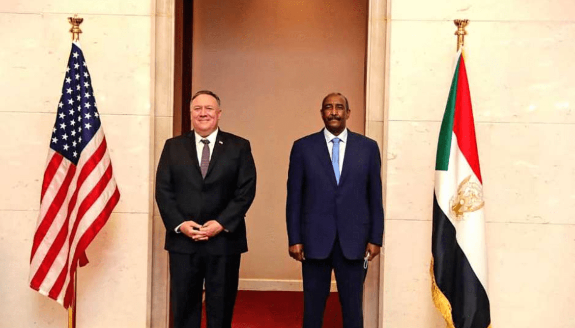 U.S. Secretary of State Mike Pompeo and the Sudan Leader of Sovereign Counsel Abdel-Fattah al-Burhan posting for a picture in Khartoum, Sudan(Photo credit: Courtesy image)