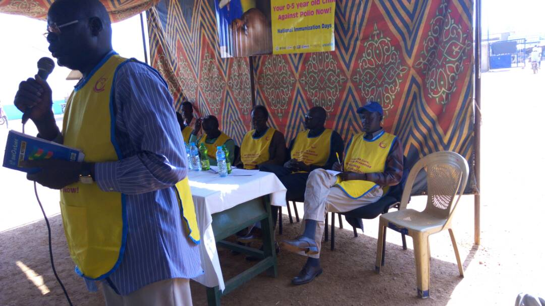 EPI Manager adressing in World Polio Day and NID Launching in Aweil, NBG State