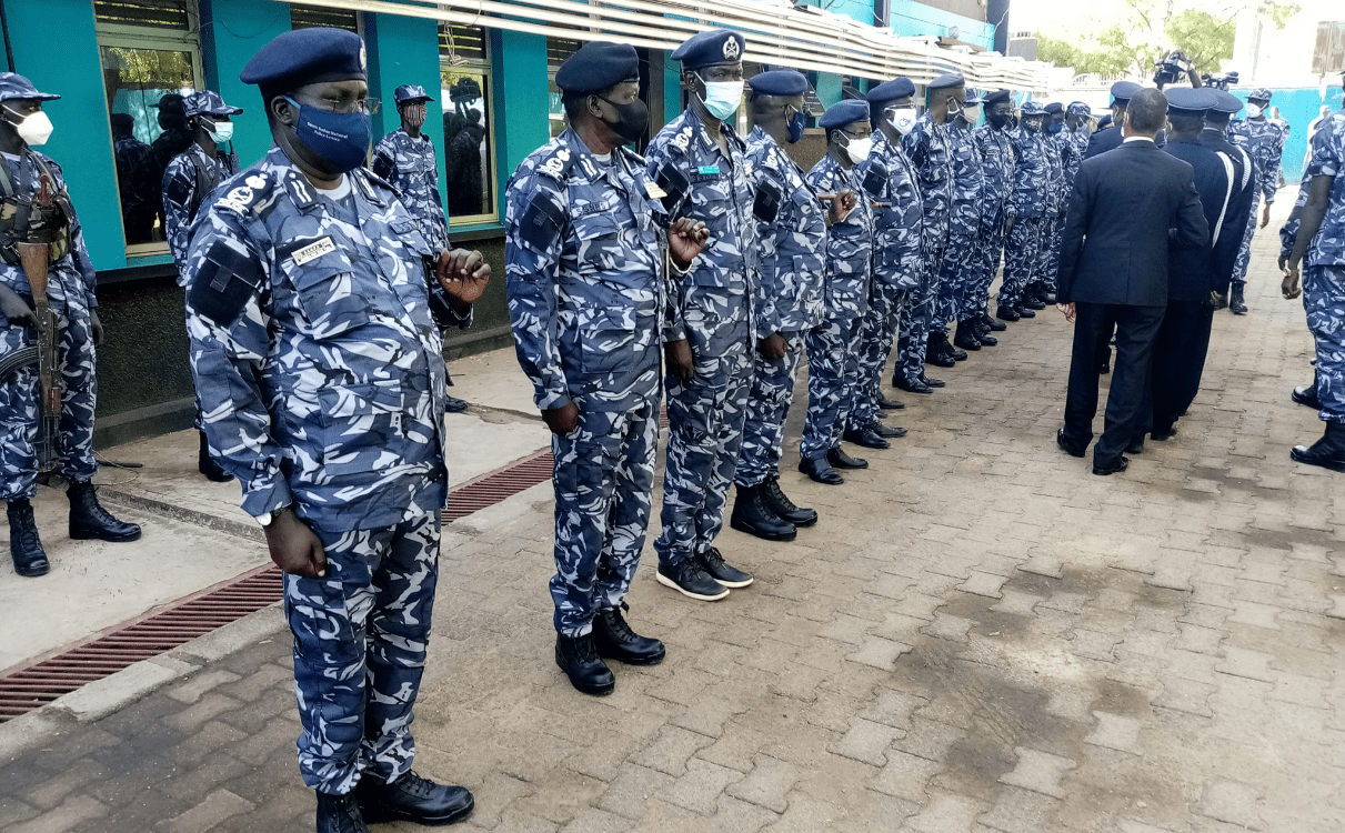 the commissioner General of Ethiopian Federal police C. G. Demelash Gebremicheal inspecting South Sudan Police in the capital, Juba, March 20, 2021(Photo credit: Nyamilepedia)