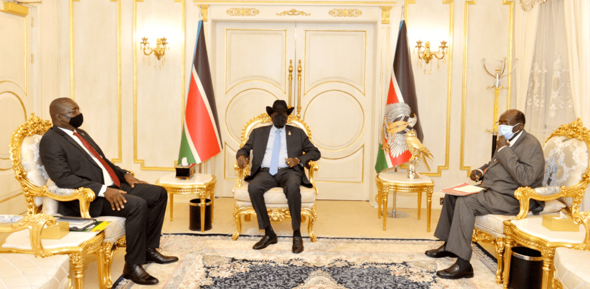 Governor of Central Equatoria State Hon. Emmanuel Adil Anthony and Marial Benjamin meeting president Kiir at J1(Photo credit: courtesy image)