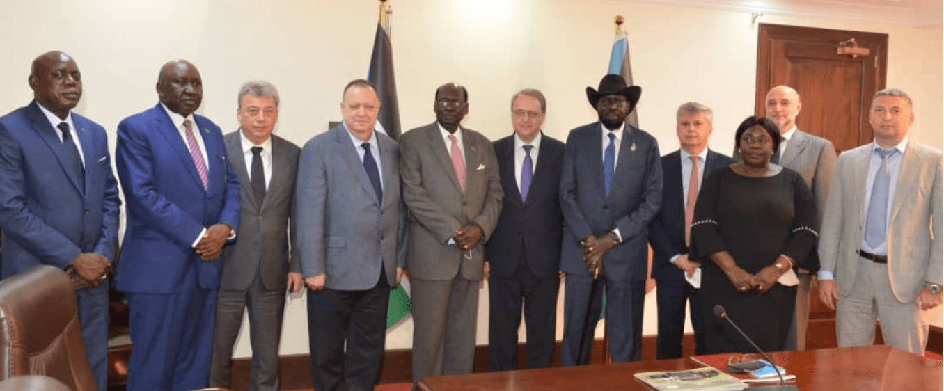 President Salva Kiir and his delegation meeting a delegation led by the Russian Deputy Minister of Foreign Affairs Hon. Mikhail Bogdanov in J1, May 14, 2021(Photo credit: courtesy image/Nyamilepedia)