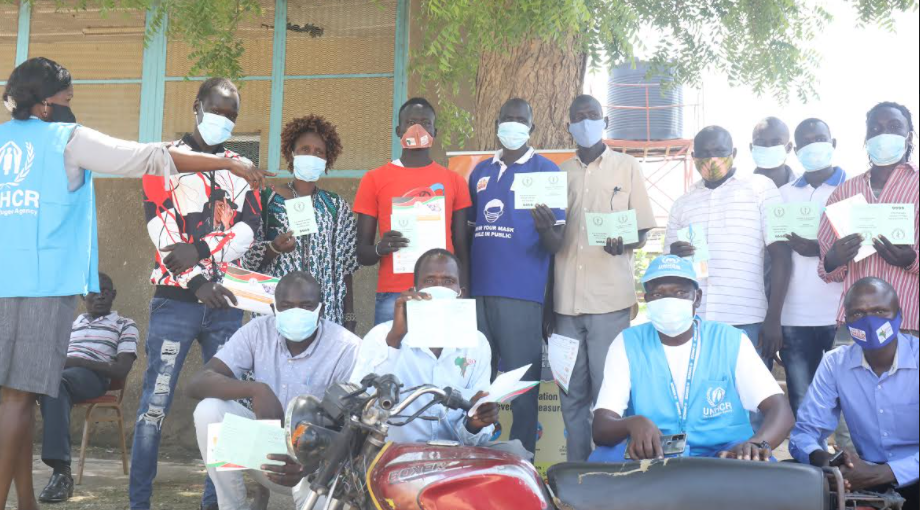first refugees in South Sudan to receive COVID-19 vaccination in Juba, May 20, 2021(Photo credit: UNHCR South Sudan/Nyamilepedia)