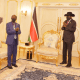 VP of Economic Cluster Dr. James Wani Igga handing over Jonglei-Pibor Crisis report to president Kiir on Monday, May 10, 2021(Photo credit: courtesy image)