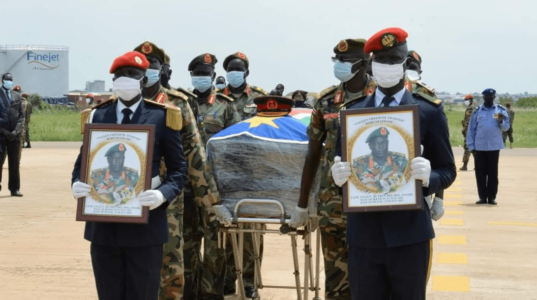 Body of Lt. Gen. Butrous Bol Bol being received by President Salva Kiir at Juba International Airport(Photo credit: supplied)