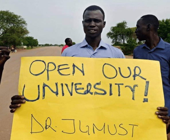 Students of Dr. John Garang University of Science and Technology on protest in Bor, Jonglei State(Photo credit: supplied)