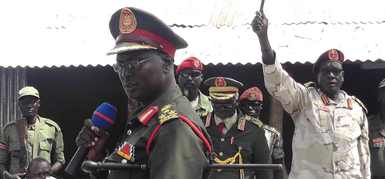 SPLM/A-IO military spokesman, Brig. Gen. William Gatjiath Deng addressing soldiers in the past at the frontline(Photo credit: supplied)