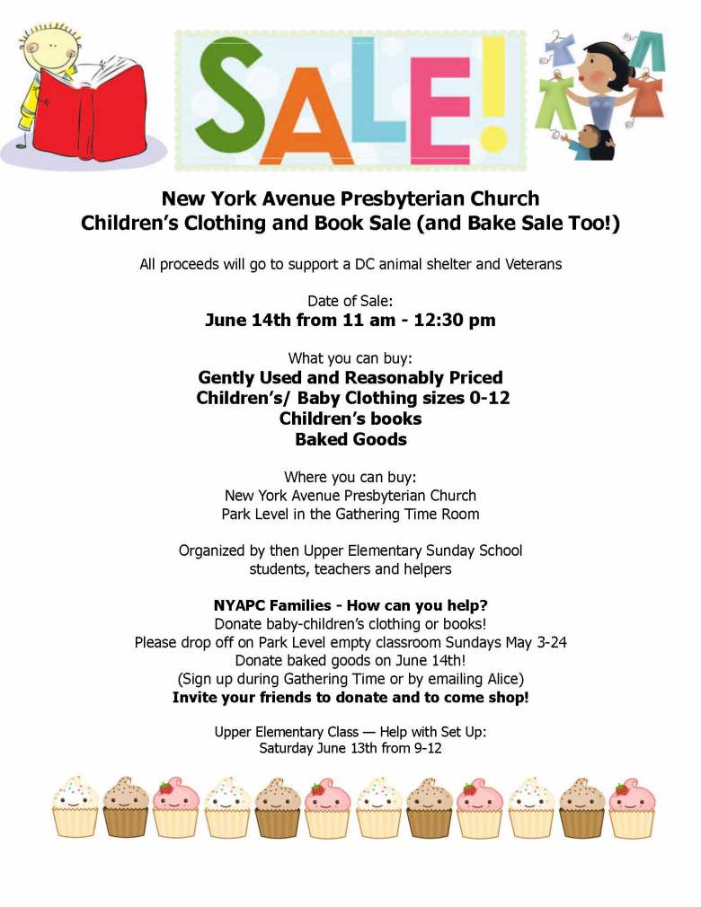 Childrens Clothing Book and Bake Sale Flyer