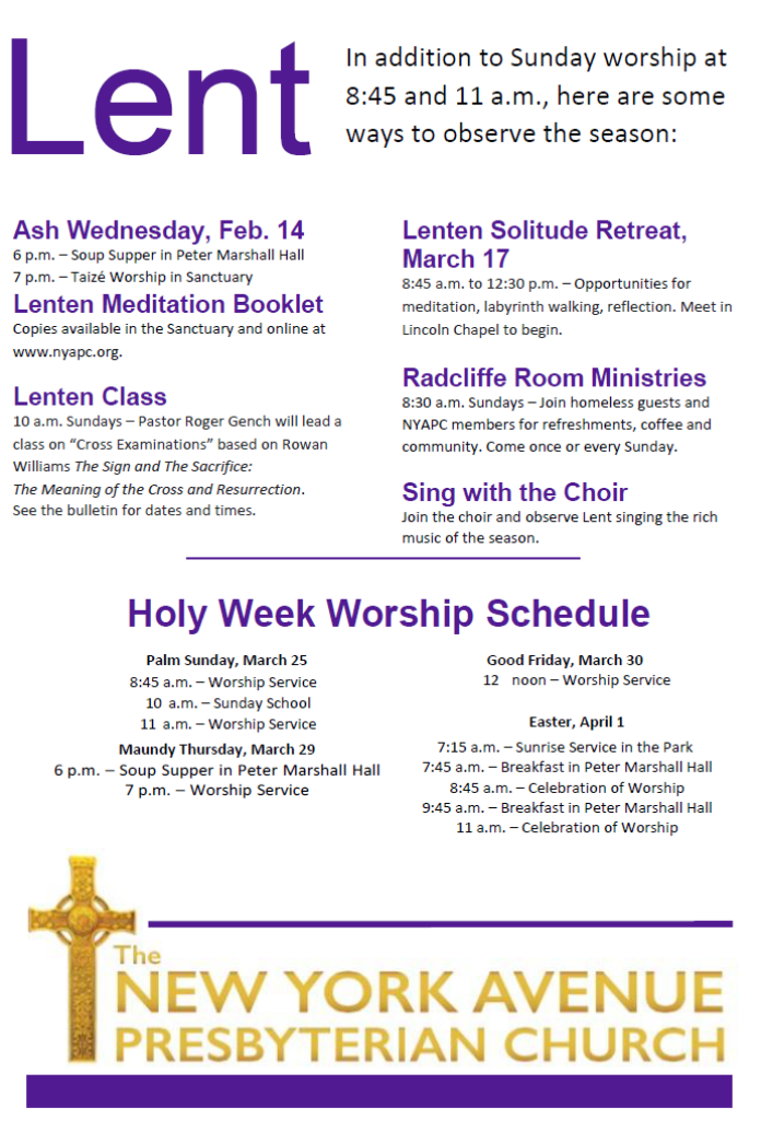 2018 Lent and Holy Week Schedule – The New York Avenue ...