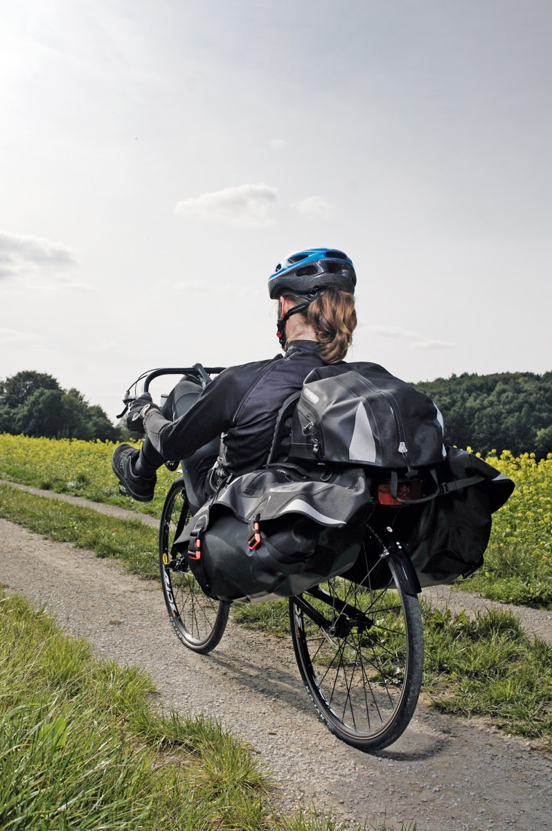 Ortlieb recumbent backpack: got one, love it.  But check your rack size.