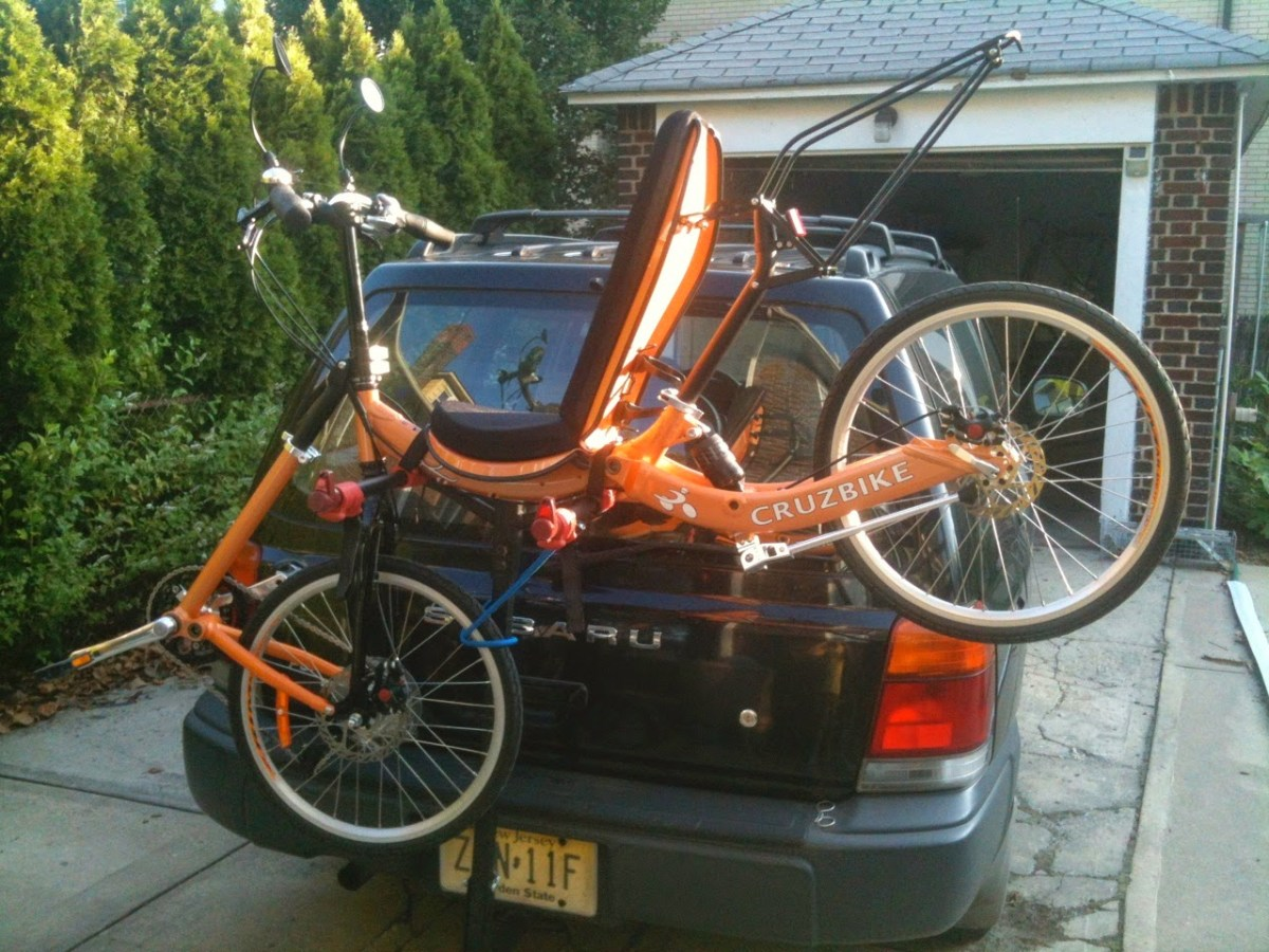 Cruzbike Quest on a car mounted bike rack