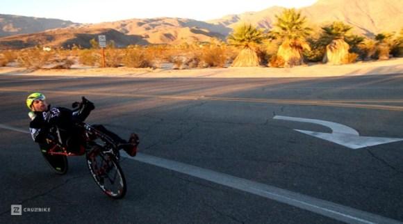Cruzbike race reports: Jason Perez riding a Cruzbike Vendetta into Christmas Circle as the sun climbs early in the morning. Copyr. Cruzbike 2015