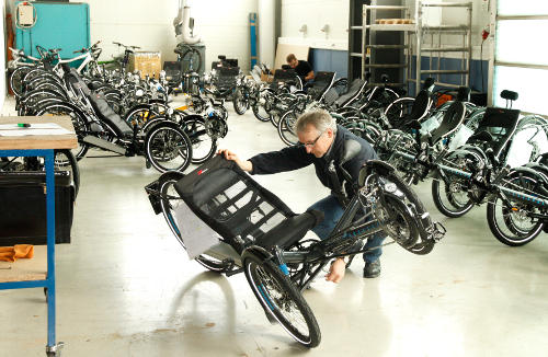 HP Velotechnik S-Pedelec Scorpion fs 26 being inspected.