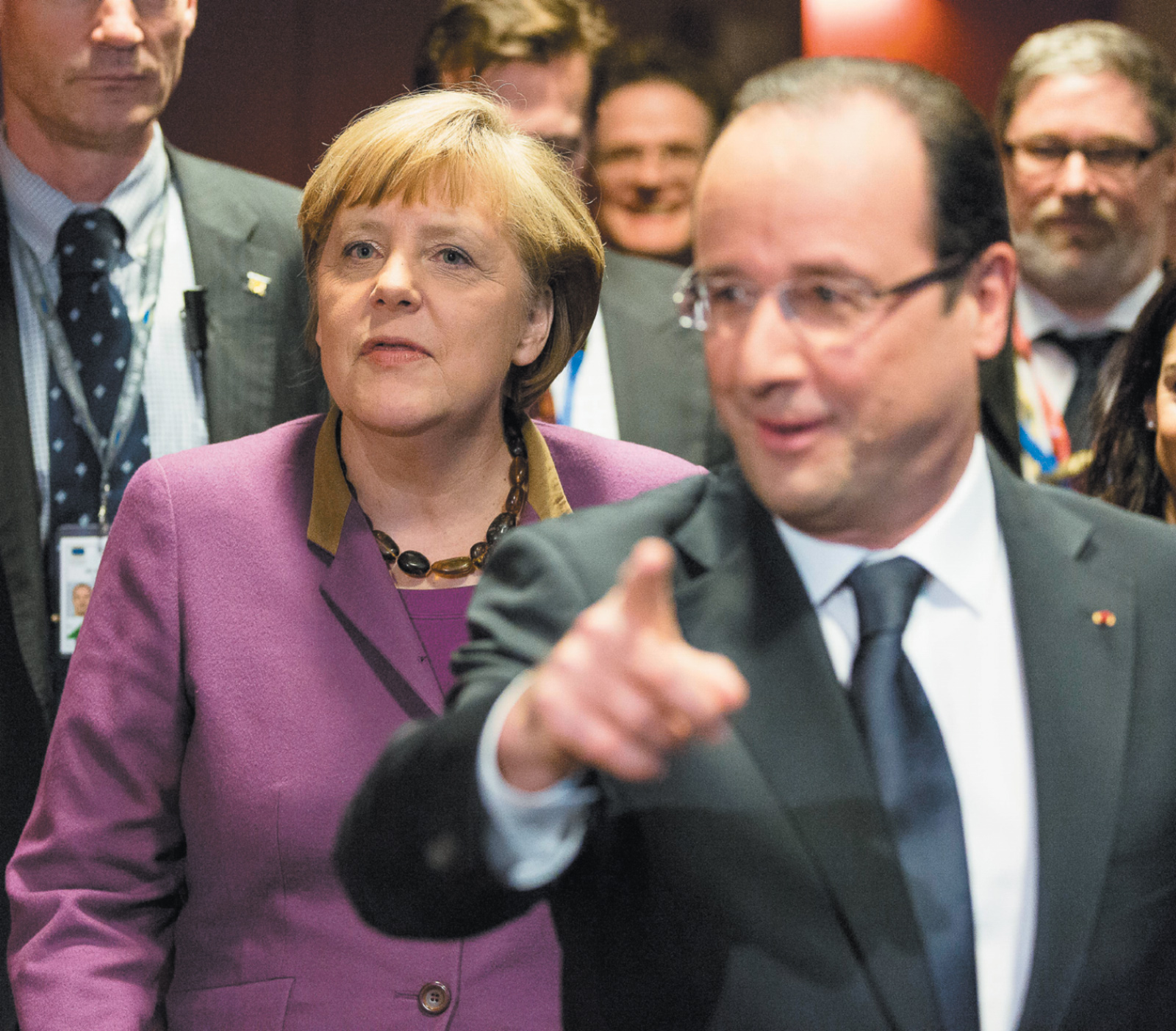 German Chancellor Angela Merkel and French President François Hollande at a summit of the European Union, Brussels, February 2013