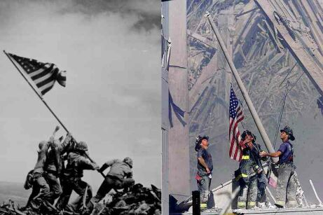 Flag-raising: at Iwo Jima by Joe Rosenthal and Thomas E. Franklin photo of 9/11 on the right.