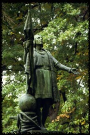 Statue of Christopher Columbus in Central Park commissioned by the New York Genealogical and Biographical Society 1894 by Spanish Sculptor Jeronimo Sunol