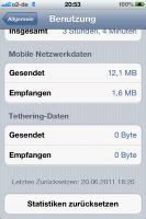 Datenverbrauch mit iPhone 4 iOS 5 Beta1 im Mobilfunknetz nach 1,5 Stunden
