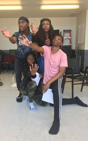 Teens at in an afterschool theater program.