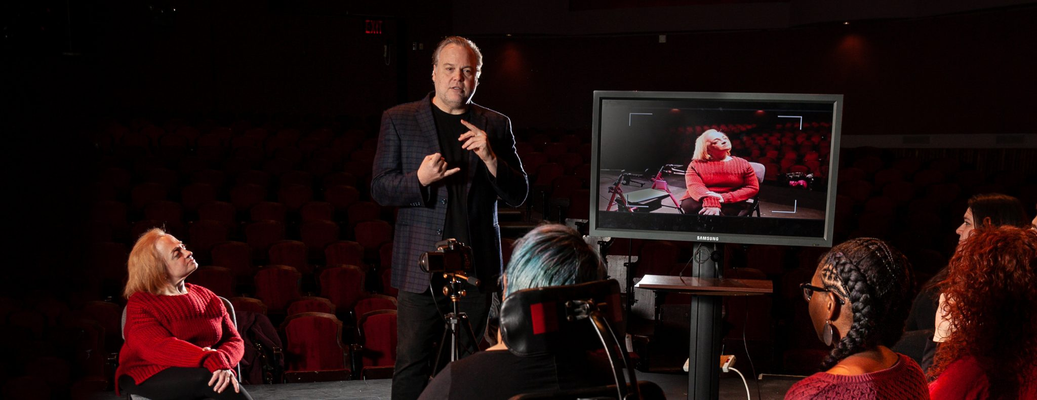 Actor Vincent D'Onofrio teaching a master class for actors with disabilities at the Queens Theatre.