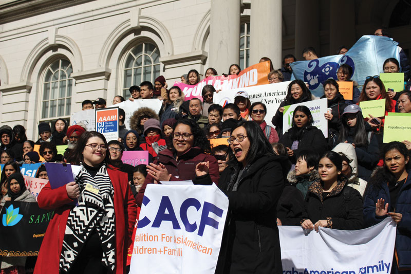A rally on Asian Pacific American City Advocacy Day